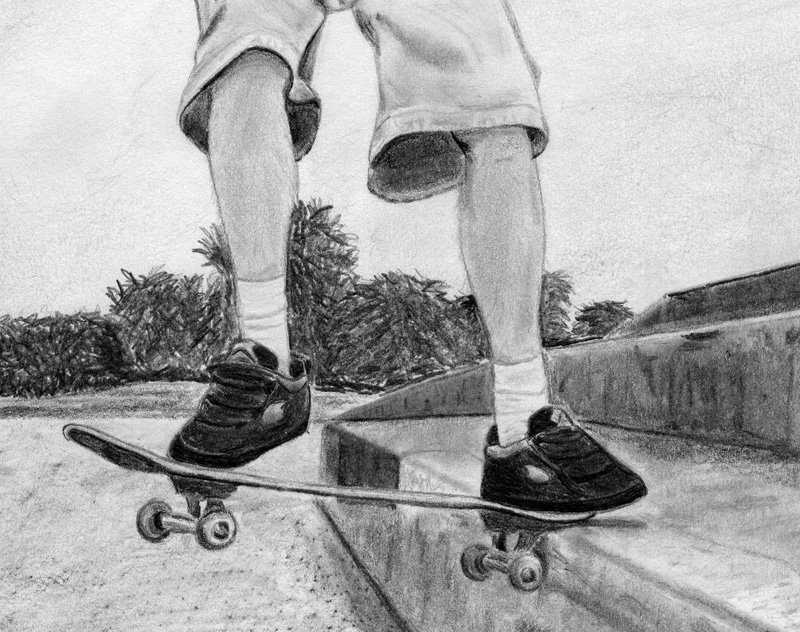 how to draw a realistic skateboard