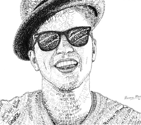 Bruno Mars Word Art