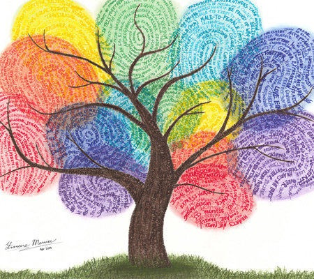 Pride Art - Rainbow Fingerprint Tree
