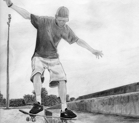 Skateboarder art sketch